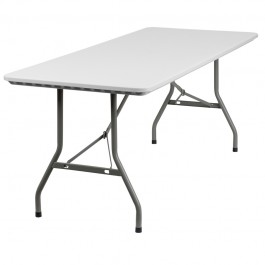 Flash Furniture 30''W x 72''L Granite White Plastic Folding Table RB-3072-GG