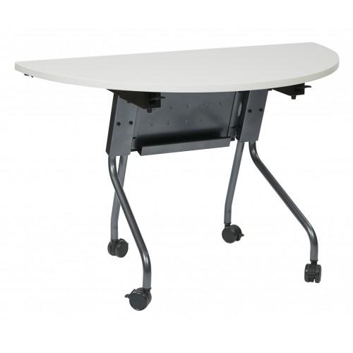 Office star 842hr24tm 48 wide half round table titanium for Table titanium quadra 6