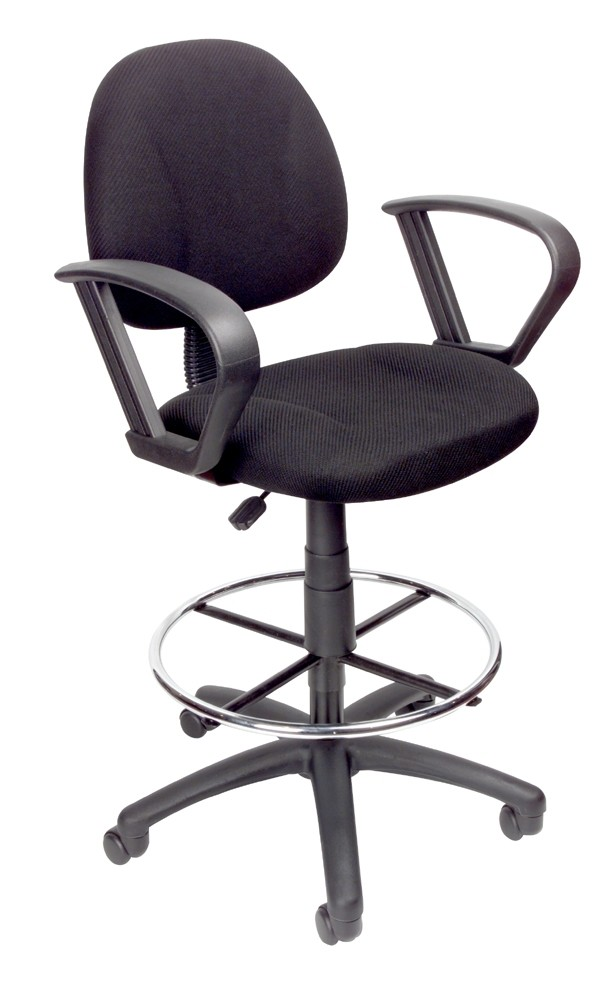 Boss Drafting Stool With Footring And Loop Arms B1617 Bk