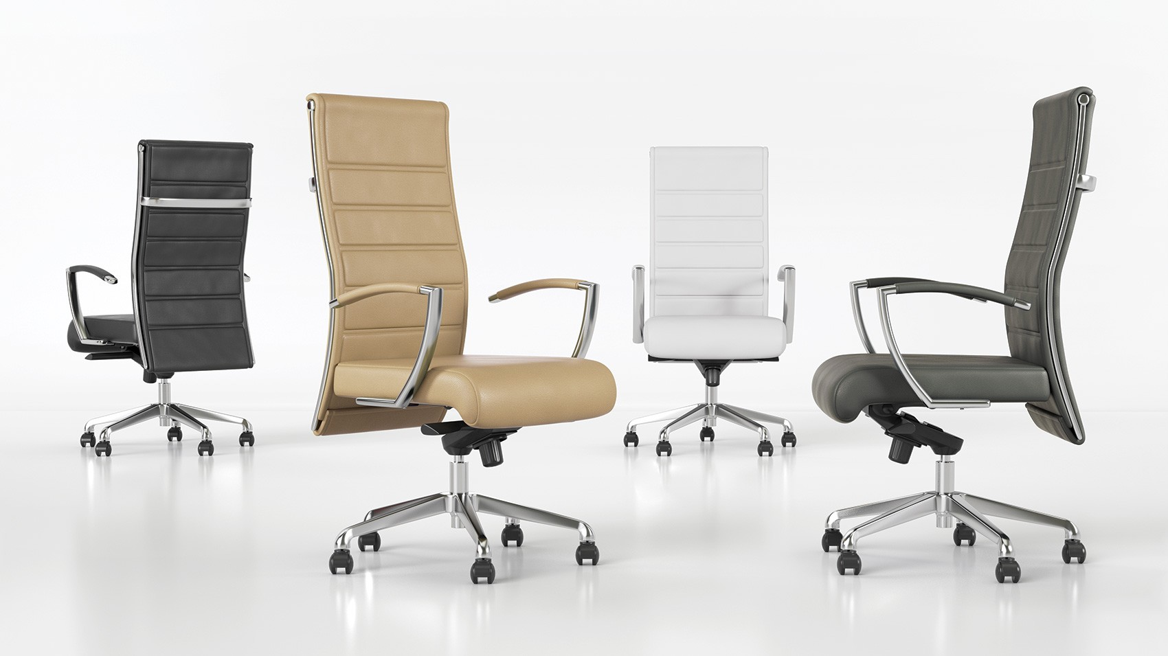 First Office Sleek F12117 Leather Conference Chair