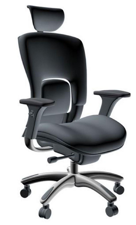 Gm Seating Ergolux Genuine Black Leather Hi Swivel Chair