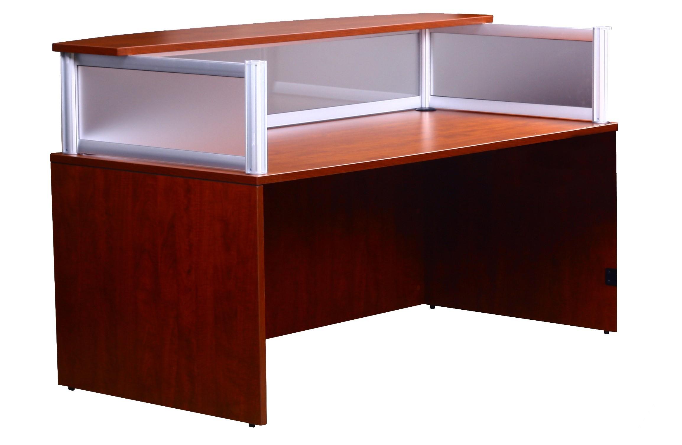 Boss Plexiglass Reception Desk Cherry N269g C